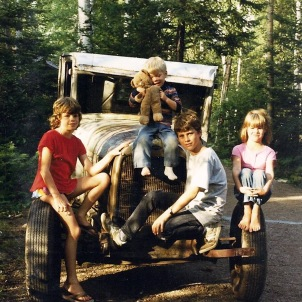 Hotaling kids on the Model A, 1986