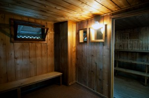 Sauna Interior, older benches