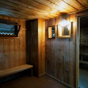 Sauna Interior, older benches