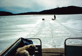 Cutting a channel (with chainsaws) between Wildereness Bay and Pickerel Bay (1996)
